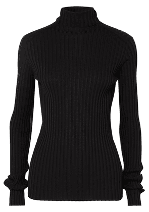 Victoria Beckham - Ribbed Stretch Cotton-blend Turtleneck Sweater - Black