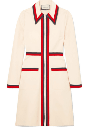 Gucci - Grosgrain-trimmed Stretch-crepe Dress - Ivory
