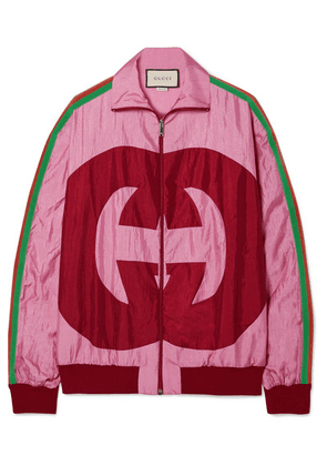 Gucci - Grosgrain-trimmed Printed Shell Track Jacket - Pink