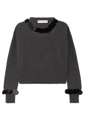 Marni - Cropped Paillette-embellished Wool And Cashmere-blend Sweater - Gray