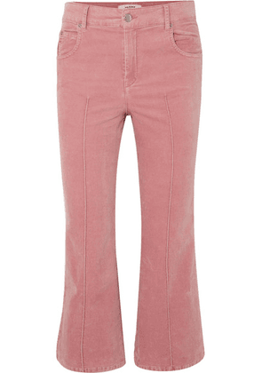 Isabel Marant Étoile - Anyree Cropped Stretch-cotton Velvet Flared Pants - Pink
