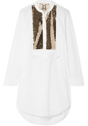 Figue - Thalie Sequined-paneled Cotton-voile Tunic - White