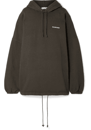 Balenciaga - Oversized Embroidered Cotton-blend Fleece Hoodie - Charcoal