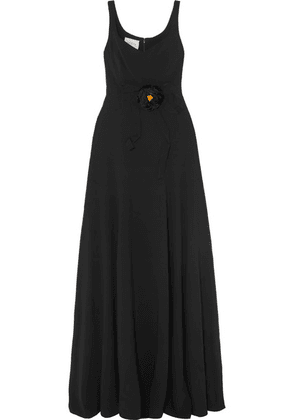 Gucci - Appliquéd Grosgrain-trimmed Crepe Gown - Black