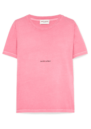 Saint Laurent - Printed Cotton-jersey T-shirt - Bright pink