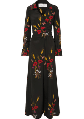 Valentino - Wrap-effect Printed Silk-georgette Jumpsuit - Black