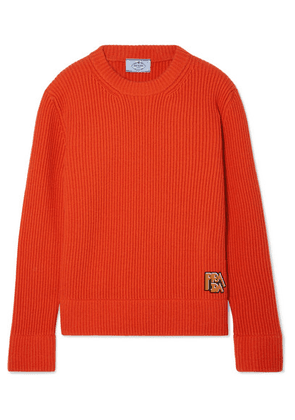 Prada - Appliquéd Ribbed Wool And Cashmere-blend Sweater - Orange