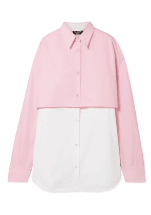 CALVIN KLEIN 205W39NYC - Two-tone Layered Cotton-poplin Shirt - Baby pink