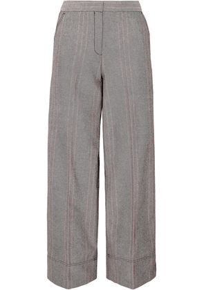 By Malene Birger - Enilas Checked Cotton-blend Twill Wide-leg Pants - Gray