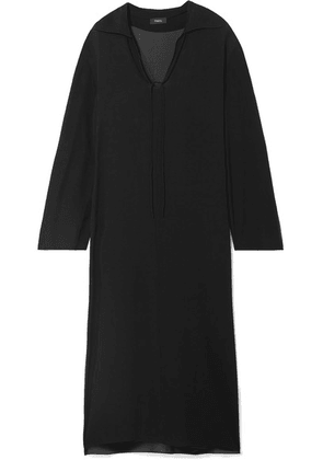 Theory - Sailor Oversized Silk Crepe De Chine Maxi Dress - Black