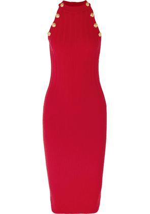 Balmain - Ribbed Wool-blend Midi Dress - Red