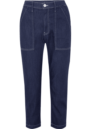 3x1 - Sabine Cropped Contrast-stitch Jeans - Dark denim
