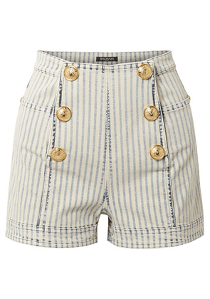 Balmain - Button-embellished Striped Denim Shorts - Light blue