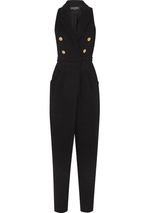 Balmain - Button-embellished Stretch-knit Jumpsuit - Black