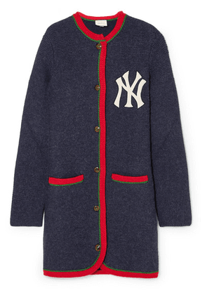 Gucci - + New York Yankees Embroidered Alpaca And Wool-blend Cardigan - Navy