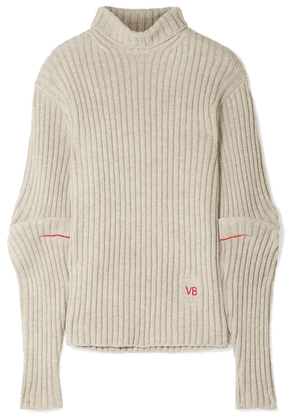 Victoria Beckham - Embroidered Ribbed Wool Turtleneck Sweater - Beige