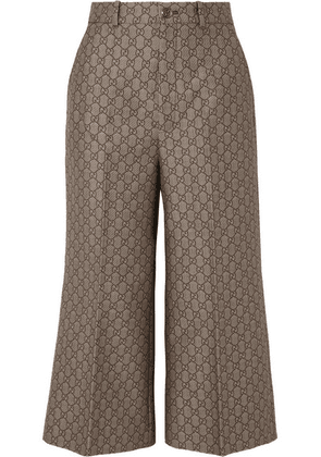 Gucci - Cotton And Wool-blend Jacquard Wide-leg Pants - Brown