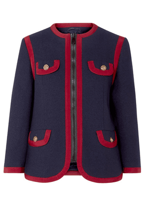Gucci - Grosgrain-trimmed Wool-blend Jacket - Navy