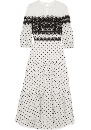 Temperley London - Prix Embroidered Tulle And Polka-dot Georgette Midi Dress - White