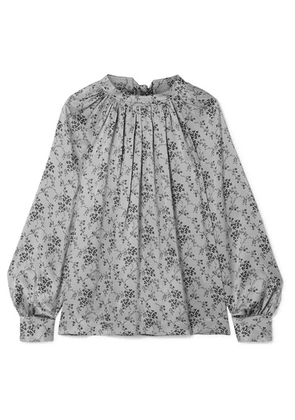 Co - Gathered Floral-print Silk-charmeuse Blouse - Light gray