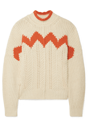 Isabel Marant - Bell Intarsia Paneled Open-knit Cotton-blend Turtleneck Sweater - Ecru