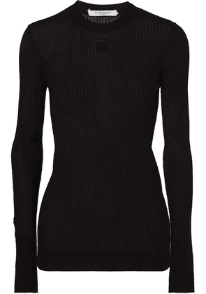 Givenchy - Embroidered Ribbed-knit Top - Black