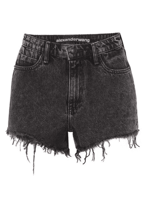 Alexander Wang - Bite Frayed Denim Shorts - Dark gray