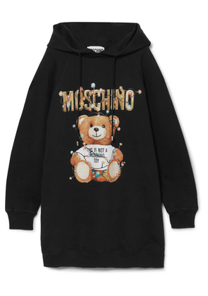 Moschino - Teddy Hooded Printed Cotton-jersey Dress - Black