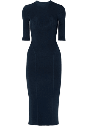 Victoria Beckham - Ribbed Stretch-knit Midi Dress - Navy