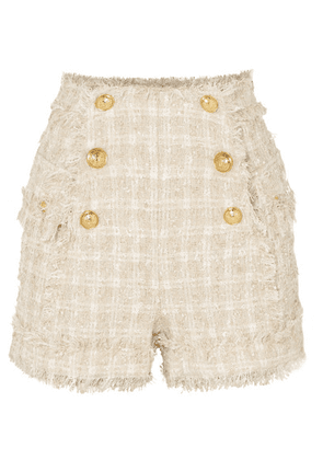 Balmain - Button-embellished Tweed Shorts - Beige
