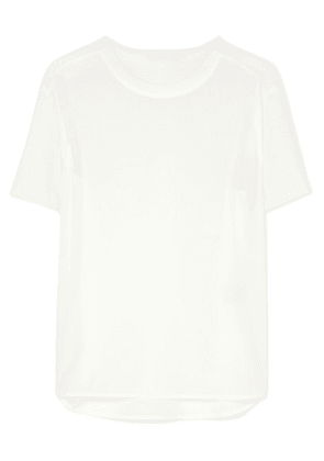Agnona - Paneled Silk Crepe De Chine And Wool Top - White