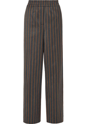 CALVIN KLEIN 205W39NYC - Striped Wool And Cotton-blend Wide-leg Pants - Gray