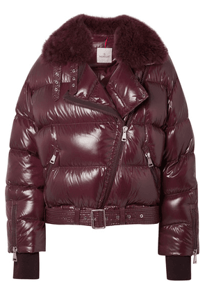Moncler - Shearling-trimmed Quilted Patent-shell Down Jacket - Purple