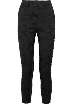 Dolce & Gabbana - Cropped Lace-up Floral-jacquard Skinny Pants - Black