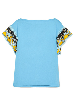 Emilio Pucci - Printed Silk-trimmed Cotton-jersey T-shirt - Blue