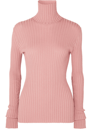 Victoria Beckham - Ribbed Stretch Cotton-blend Turtleneck Sweater - Pink