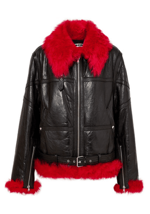 McQ Alexander McQueen - Oversized Shearling-trimmed Textured-leather Jacket - Black