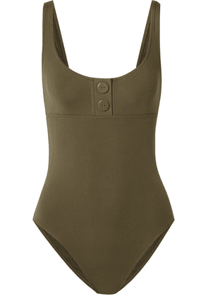 Eres - Pop Line Up Button-detailed Swimsuit - Army green