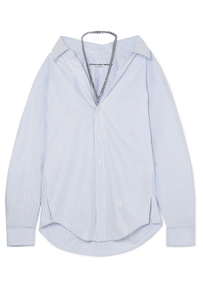 Alexander Wang - Chain-embellished Striped Cotton-poplin Shirt - Light blue