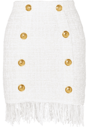 Balmain - Button-embellished Fringed Bouclé Mini Skirt - White