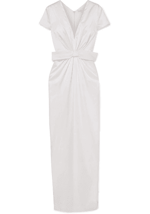 Emilia Wickstead - Beatrice Bow-embellished Ruched Silk-satin Gown - Ivory