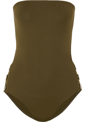 Eres - Pop Epic Cutout Button-detailed Bandeau Swimsuit - Army green