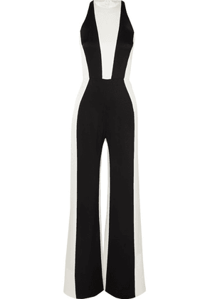 Galvan - Marlene Two-tone Crepe Jumpsuit - Black