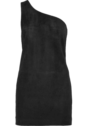 SAINT LAURENT - One-shoulder Suede Mini Dress - Black