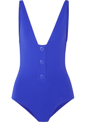 Eres - Pop Button-detailed Swimsuit - Bright blue