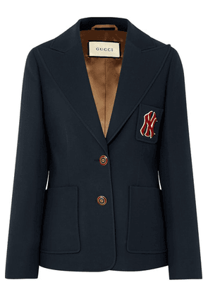 Gucci - + New York Yankees Appliquéd Wool And Silk-blend Cady Blazer - Blue