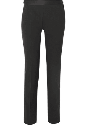 Victoria Beckham - Satin-trimmed Stretch-wool Slim-leg Pants - Black