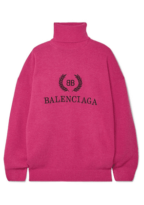 Balenciaga - Embroidered Wool And Cashmere-blend Turtleneck Sweater - Pink