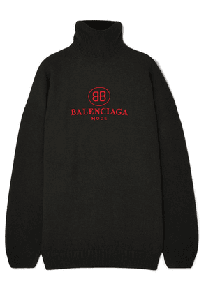 Balenciaga - Embroidered Wool And Cashmere-blend Turtleneck Sweater - Black