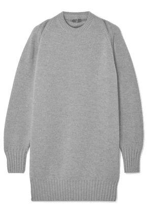 Alexander Wang - Oversized Zip-detailed Ribbed Merino Wool Sweater - Gray